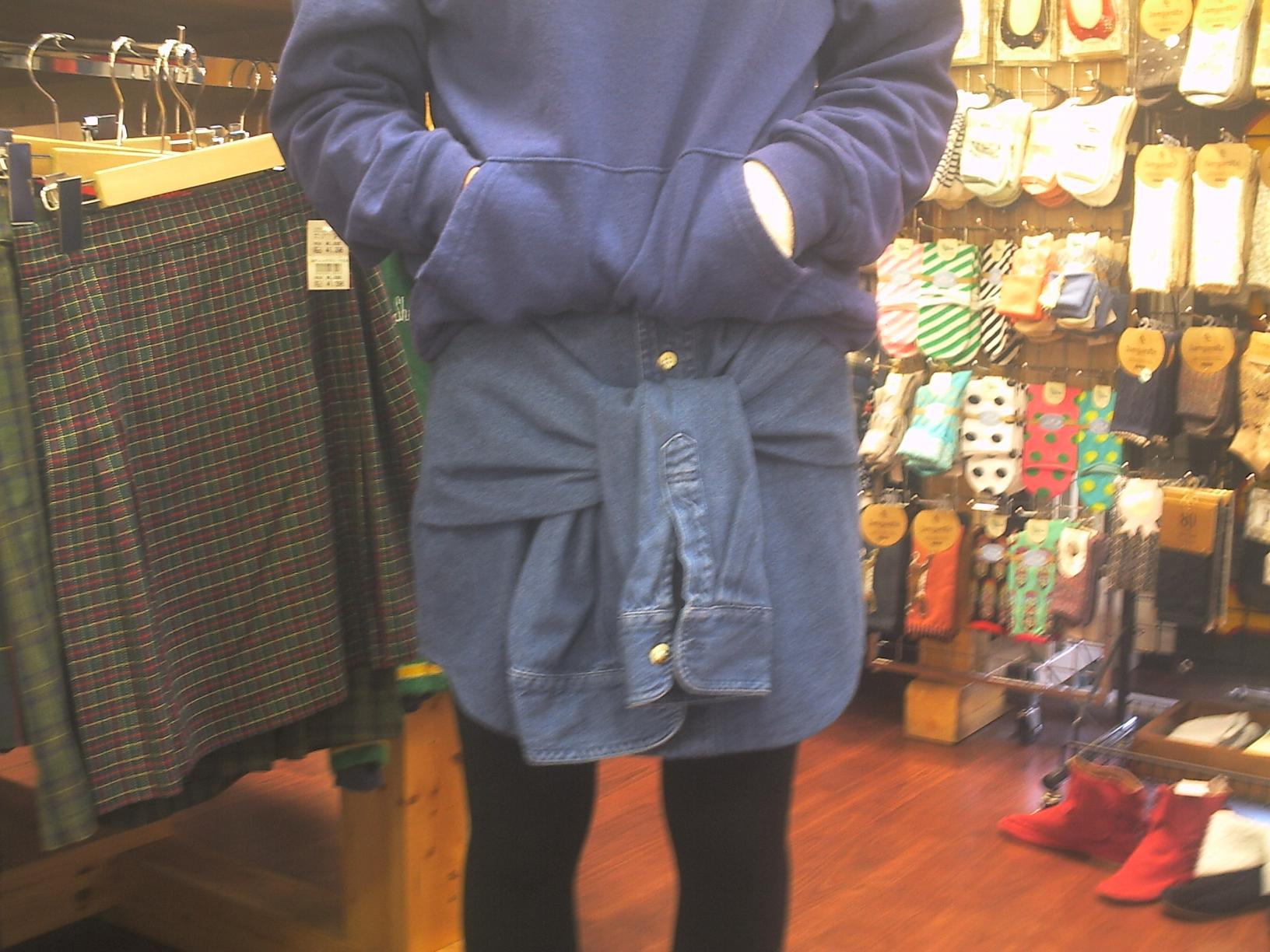 袖付デニムスカート1