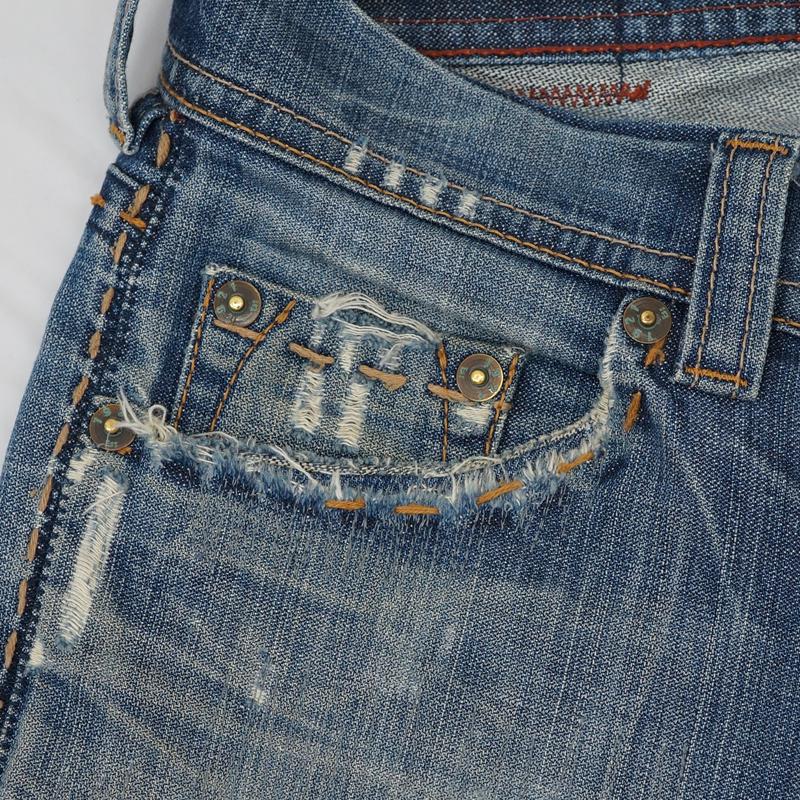 ジーンズ ポケット縁補強 もも部分破れ リペア(修理)
