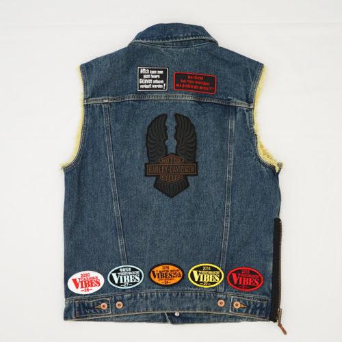 ワッペン取り付け(縫い付け)|Harley Davidson( ハーレーダビッドソン) デニム ベスト
